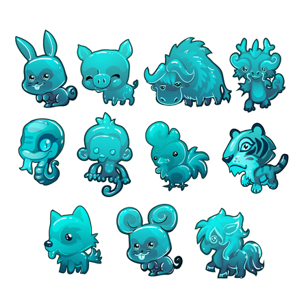 Set cartoon ice figurines of animals turquoise color isolated on white background. The symbols of the Chinese calendar. Vector illustration.