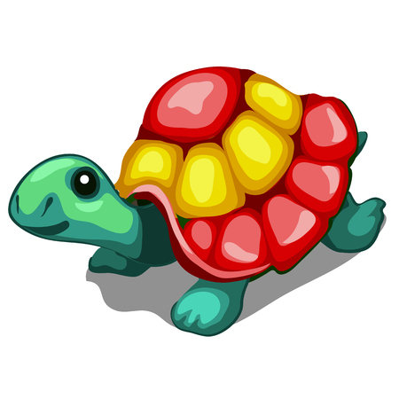Brightly painted figurine of a turtle isolated on a white background. Vector cartoon close-up illustration. Illustration