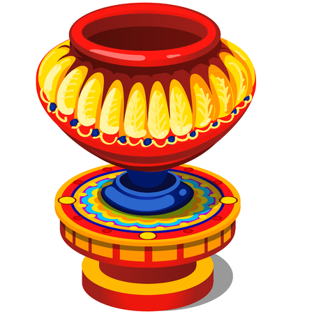 Ethnic brightly painted ancient vase isolated on white background. Vector cartoon close-up illustration.