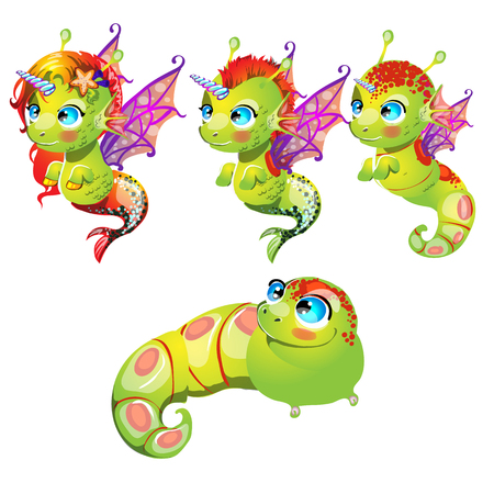 Set fantasy cartoon seahorse isolated on a white background. Stages of transformation from larvae in the sea unicorn with Golden hooves. Vector illustration.