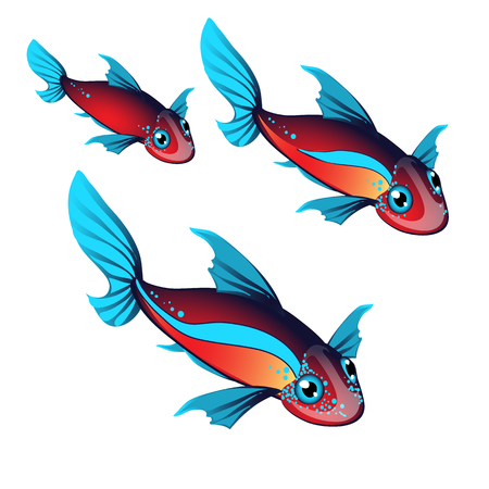 Set fantasy animals with ears and fins isolated on white background. Vector illustration.