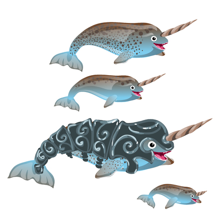 Set of fantasy animals blue color isolated on white background. Narwhal or narwhale, Monodon monoceros. Vector illustration.