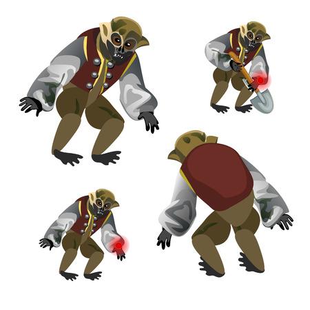 Set fantasy zombie monkey isolated on white background. Vector cartoon close-up illustration.