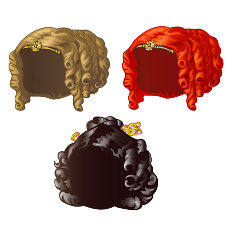 Set of vintage womens wigs for a holiday or a ball isolated on a white background. Vector close-up cartoon illustration. Illustration