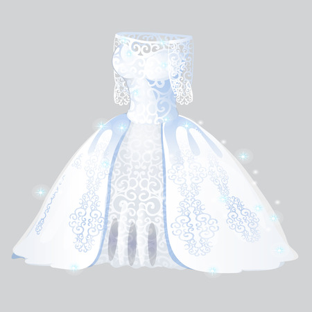 Luxurious bridesmaid dress isolated on grey background. Wedding apparel. Vector illustration.