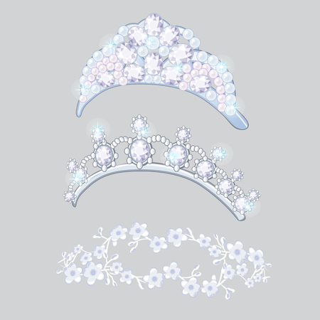 Set of crowns and wreaths on the brides head isolated on gray background. Jewelry wedding diamond jewelry. Vector cartoon close-up illustration.