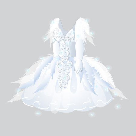 Luxurious bridesmaid dress isolated on grey background. Wedding apparel.