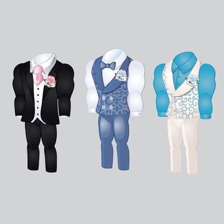 Set of animated mens clothing. Groom suit for wedding celebration isolated on a gray background. Vector illustration. Çizim