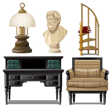 Objects and furniture vintage interior isolated on white background. Vector illustration.