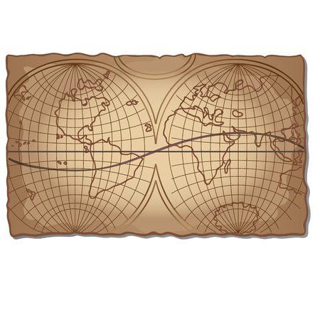 Vintage world map on the faded old piece of paper isolated on white background. Vector cartoon close-up illustration.