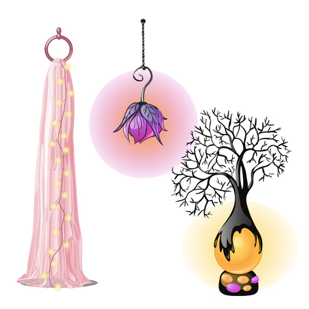 Exclusive interior items, lamps isolated on white background. Vector cartoon close-up illustration.