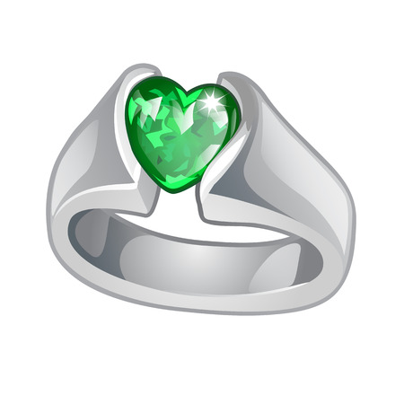 Exclusive ring made of white gold with inlaid green emerald heart shaped isolated on white background. An instance of boutique jewelry. Vector illustration.