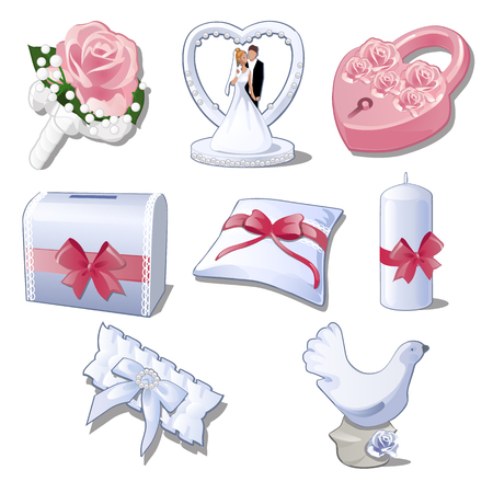 Set wedding accessories isolated on white background. The brides bouquet, figurine newlyweds for car decoration, pink padlock, box, pillow, candle, garter and figure of a dove. Vector illustration.