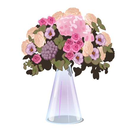 Fresh cut flowers in a glass conical vase isolated on white background. Vector illustration.