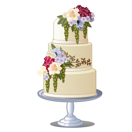 Festive layered biscuit cake covered with frosting and edible flowers. Sketch for greeting card, festive poster or party invitations. Pastry isolated on a white background. Wedding attributes. Vector. Stock Vector - 103786909