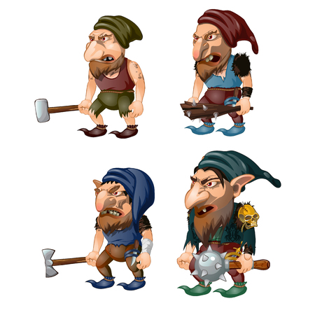 Set of goblins with a bludgeon, axe, hammer and club. Fantastic inhabitants of the forest. Vector illustration.