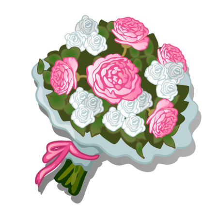 A lush bouquet of flowers tied with pink ribbon isolated on white background. Vector cartoon close-up illustration.
