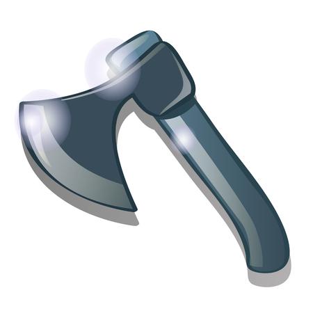 Steel axe isolated on white background. Vector cartoon close-up illustration. Illustration