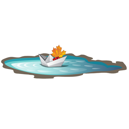Paper boat with a fallen maple leaf floats in a puddle. Symbols of autumn isolated on white background. Vector cartoon close-up illustration.