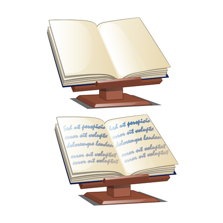 Bookends. School stand for books isolated on white background. Vector cartoon close-up illustration.
