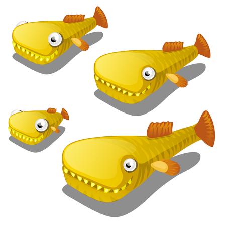 Set of cartoon fish isolated on white background. Vector cartoon close-up illustration.