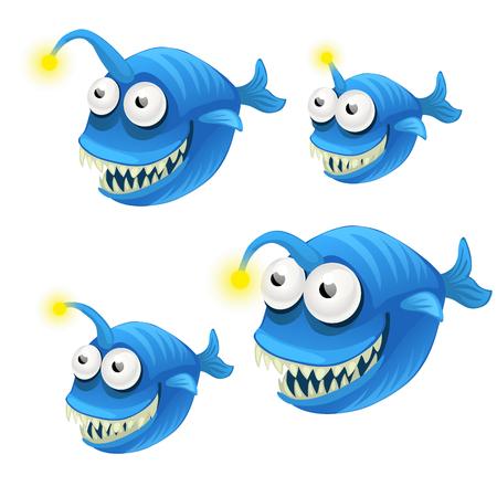 Set of cartoon fish isolated on white background. Vector cartoon.