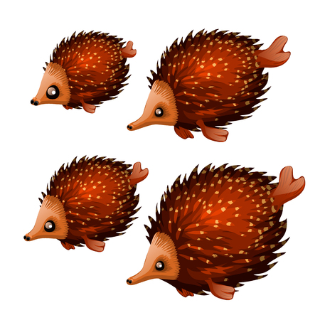 Set of cute aquatic animals brown color isolated on white background. Vector illustration.  イラスト・ベクター素材