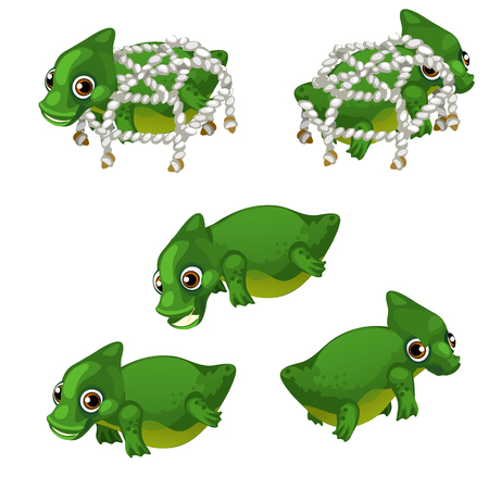 Nice set of waterfowl animated animal isolated on white background. The trapping of wild animals. Vector illustration.