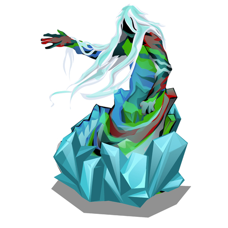 The statue in the form of abstract beings in ice crystals isolated on white background. Vector cartoon close-up illustration.
