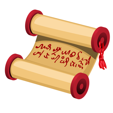 A rolled sheet of brown paper with a handwritten message isolated on white background. Vector cartoon close-up illustration.