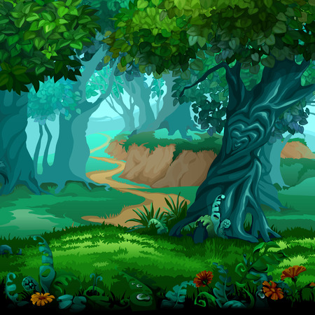 Forest of magic. Moving trees. Vector cartoon close-up illustration.