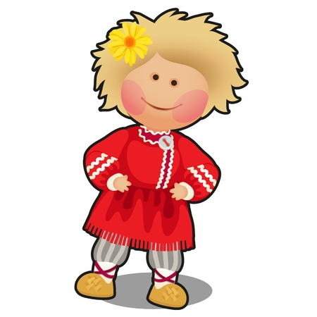 Rag doll in the form of a boy in Russian folk clothes isolated on white background. Vector cartoon close-up illustration