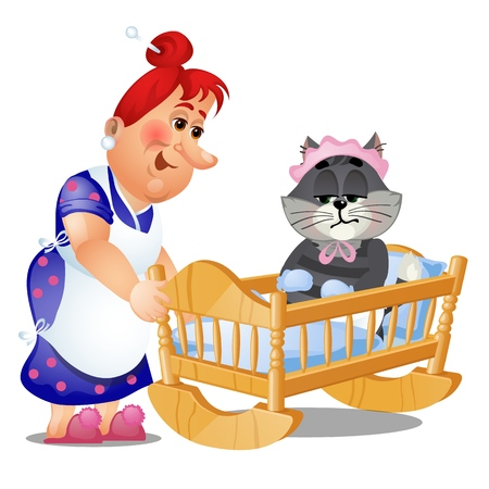 Striped cat in the childrens swing bed trying to sleep isolated on white background. Vector cartoon close-up illustration.