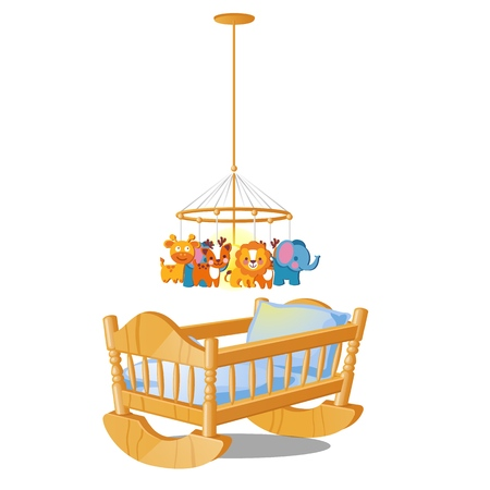 Baby carousel with hanging toys over wooden cot isolated on white background. Vector cartoon close-up illustration.