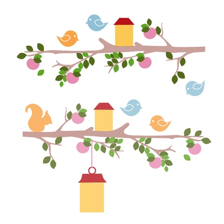 Example of wall stencil drawings for kindergarten isolated on white background. Bird and squirrel sitting on a tree branch. Vector cartoon close-up illustration.