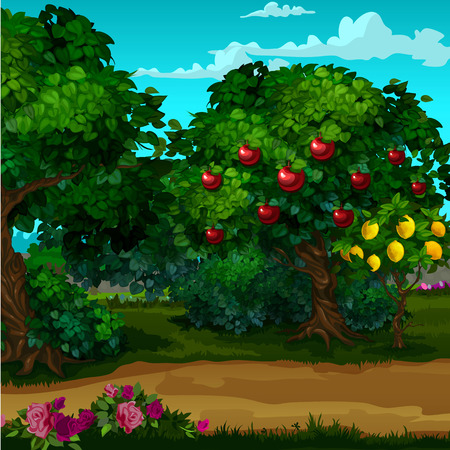 A garden with ripe fruit. Vector cartoon close-up illustration.