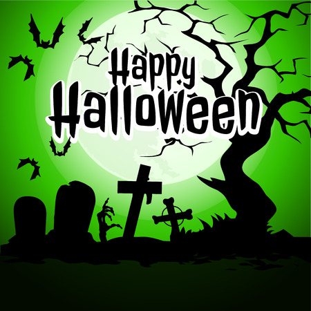 A poster on the theme of the Halloween holiday. The hand of undead zombies at an abandoned cemetery. Vector illustration.