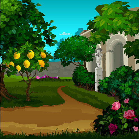 Walking paths in the garden with ripe fruit of paradise . Vector cartoon close-up illustration.