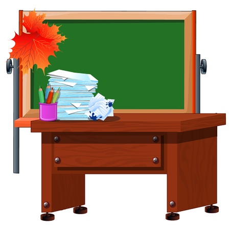 The teachers Desk and chalkboard with space for your text. Holiday the day of knowledge. Vector cartoon close-up illustration