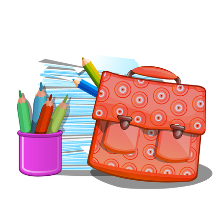 School backpack, notebooks and pencils isolated on white background. Vector illustration.