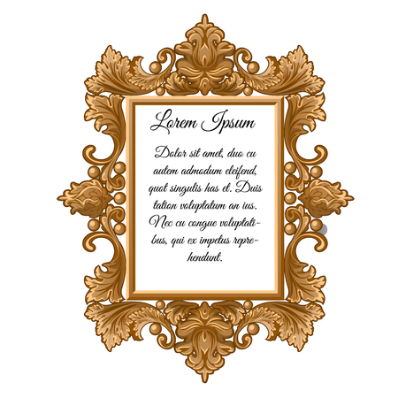 Ornate vintage frame with space for your text isolated on white background. Sample of interior decor in retro style, poster, invitation to a wedding party and other cards. Vector illustration.