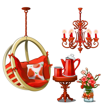 The interior of cozy cafe or kitchen in red color. Vintage furniture and tea set isolated on white background. Vector cartoon close-up illustration.