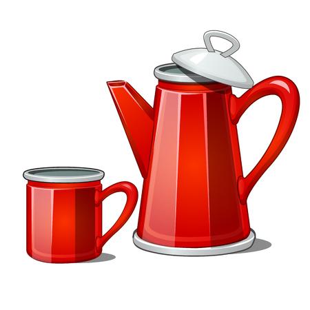 Red enamel teapot and mug isolated on white background. Vector cartoon close-up illustration.