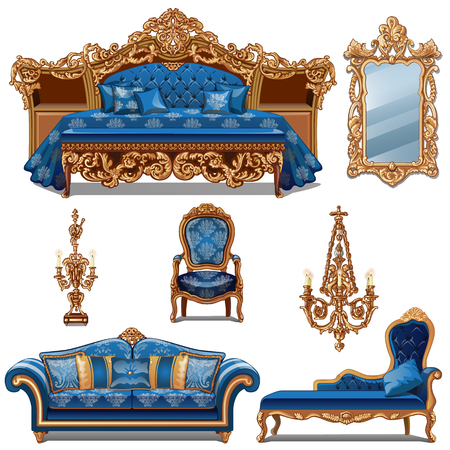 A set of furniture blue color for vintage interior isolated on white background. Vector cartoon close-up illustration.