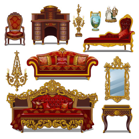 A set of furniture red color for vintage interior isolated on white background. Vector cartoon close-up illustration.