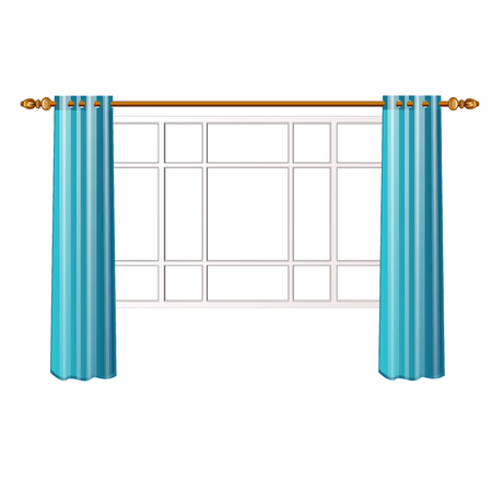 Window with turquoise curtains isolated on white background. Vector cartoon close-up illustration. Illustration