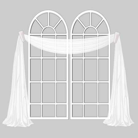 French window and white curtain isolated on a gray background. Vector cartoon close-up illustration. Illustration