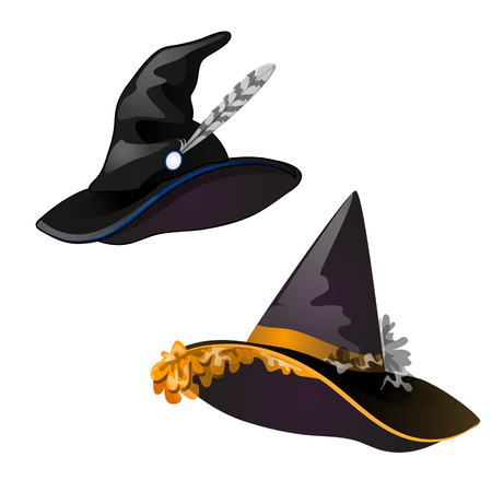 Set of black witch hat. Sketch for greeting card, festive poster, party invitation. Attributes of holiday of evil spirit Halloween. Fashion accessory for carnival. Vector cartoon close-up illustration