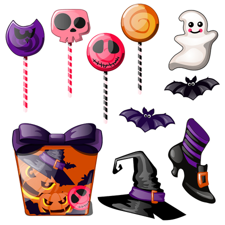 Set of bright candies on stick, Lollipop. Witch hat, Shoe and gift box with bow. Sketch for greeting card, festive poster or party invitations. The attributes of the holiday of evil spirit Halloween. Çizim