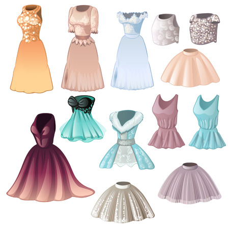 Set of elegant womens dresses and skirts isolated on white background. Vector cartoon close-up illustration.